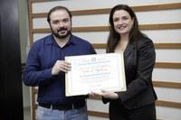 Secretário-Geral Jonas Gomes e Renata Giovanoni, diretora da Fatec Barueri