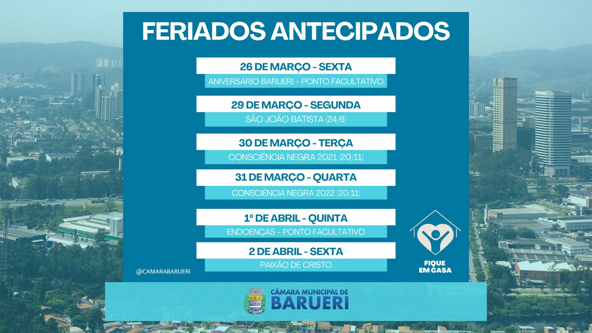 Barueri acompanha cidades da região e antecipa feriados