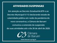 Câmara de Barueri estende suspensão das atividades até 30 de abril