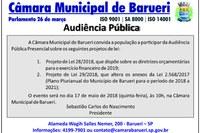 Câmara promove audiência pública sobre LDO